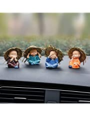 Great Art 4PCS Caaments Auto Decor Monk in a Straw Hat Car Display Decoration