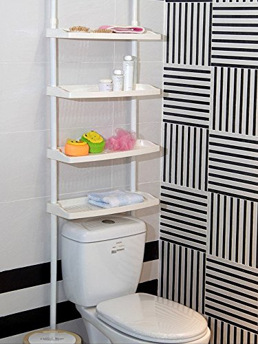 sell-ideas Feibrand 4 Tier Kitchen Bathroom Storage Shower Caddy Shelf Shelves Unit Adjustable Height No Screws Required