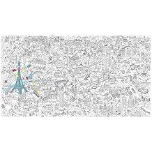 """Poster géant à colorier 1.80 x 1 mètre avec décor """"Ville de Paris"""""""