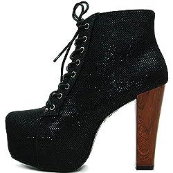 Kayla Shoes© Plateau Glitzer Boots Holzabsatz Optik (37, Schwarz)