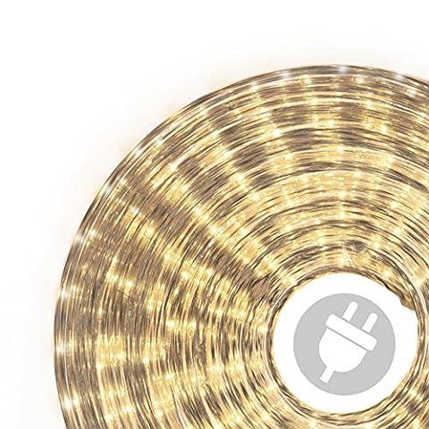 20m Microlichter Lichterschlauch Lichtschlauch warm-weiß – Innen- und Außenbereich – Licht-Dekoration für Garten Fest Weihnachten Hochzeit Gesamtlänge ca. 21,50 m