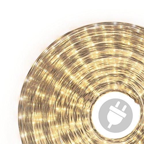 Nipach GmbH 50m Microlichter Lichterschlauch Lichtschlauch warm-weiß – Innen- und Außenbereich – Licht-Dekoration für Garten Fest Weihnachten Hochzeit Gesamtlänge ca. 51,50 m