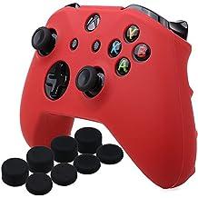 YoRHa Housse en Silicone Coque Custom pour Microsoft Xbox One X et Xbox One S Manette x 1 (rouge) Avec Pro thumb grip poignée pouce Pro x 8