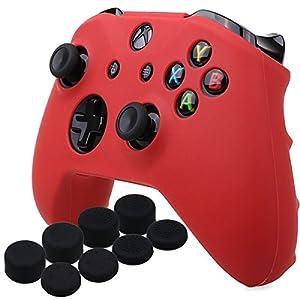 YoRHa Silikon Hülle Abdeckungs Haut Kasten für Microsoft Xbox One X & Xbox One S Controller x 1 (rot) Mit Pro aufsätze Thumb Grips x 8