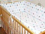 Nestchen Bettumrandung Kopfschutz Für Baby Kind - weiß mit blau- grauen Sternen- 190cm, 360 cm, 420cm für Bett 70x140 cm, 60x120cm 360 cm
