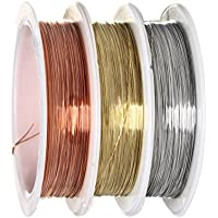 Alambre para cuentas, sicai 0,3mm – Rollo de alambre de cobre para abalorios joyería, resistente al desgaste, 3piezas