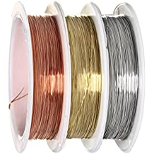 Alambre para cuentas, sicai 0,3mm bare rollo de alambre de cobre joyería alambre para cuentas rollos de alambre de cobre, resistente al desgaste, 3piezas