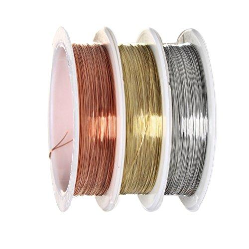 Schmuckdraht, sicai 0,3mm Bare Kupfer Draht Rolle Jewelry Schmuckdraht, Rollen anlaufgeschützt Kupfer Draht, 3Stück
