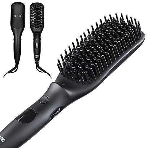 Glättbürste Haarglätter Bürste Glätteisen, Elfina MCH Technologie Ionen Glättungsbürste Antistatischer mit Temperaturregler Ionischer Haarbürste Kamm mit Überhitzungsschutz Geeignet für Lange Haare Glätten