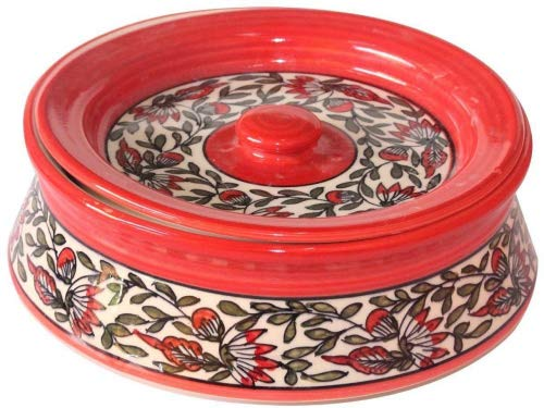 Handmade Crafted Khurja Pottery Red Ceramic Multi Storage and Dishes Serving Big Bowl with Lid Use For Snacks Serving & Storage, Nut Serving & Storage, Fruit/Dessert Serving & Storage Qty-1