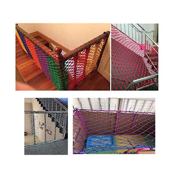 Outdoor Protection Net, Child Safety Net Stairs Balcony High Altitude Anti-fall Net Nylon Net Venue Fence Net Pet Isolation Net Goods Network Can Be Customized Size (Size : 10 * 10M(33 * 33ft))  ◆ Safety net wire diameter 6MM, mesh spacing 10CM. Color: Color rope net. The protective mesh can be customized to the mesh spacing and color you want. ◆Nylon rope net, hand-made woven net, lightweight child safety fence net, high-grade sturdy woven fabric, professional knotting, multi-strand weaving, make the rope more durable, have strong impact resistance, and protect children's safety. ◆The rope net is suitable for various scenes, door and window corridors, stairs, balconies, railings, kindergartens, amusement parks, public facilities, landscape fences, exterior walls, plant protection nets, etc., which can be used to protect your baby's safety. 3