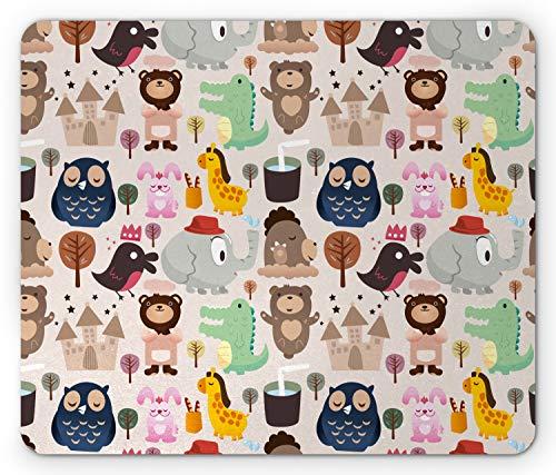 Kinder Maus Pad von lunarable, Giraffe Krokodil Teddy Bär Elephant Bird Cartoon Spielzeug Tier Castle Comic Baby Dusche, Standard Größe Rechteck rutschfeste Gummi Mauspad, multicolor