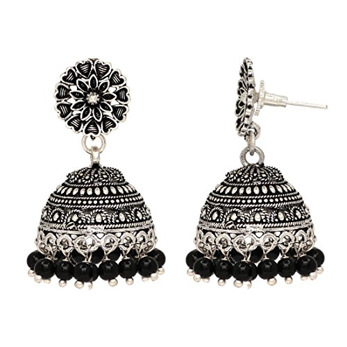 Jaipur-Mart-Oxidised-Silver-Plated-Black-Color-Brass-Earrings-Jewellery-Gift-For-Her-Girl-Women-Mother-Sister-Girlfriend-Party-Daily-Wear