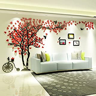 Topmail Nursery & Family Green Tree Wall Stickers 3D Extra Large DIY Family Tree Wall Decals for Living Dining Room Removable Vinyl Tree Wall Art 210×400 cm/82.7×157.5 inch(XL,Red Leaves, Left)