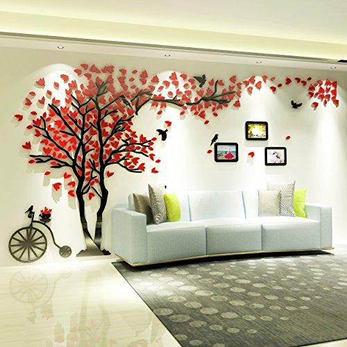 Topmail 3D Adesivi Murali da Muro Parete Wall Stickers Forma Albero con Rosso Foglie Uccelli 10 inch 3 Cornici per Foto Ruota in Acrilico Impermeabile Rimovibile Decorazione Soggiorno 400x210cm