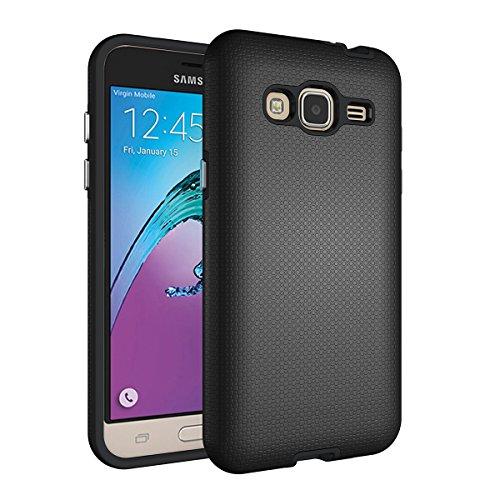 Slynmax Coque Samsung Galaxy J3 2015/2016 Noir, Luxe Housse TPU Slim Bumper Souple Silicone Etui Housse de Soft Case Cas Couverture Anti Choc Ultra Mince Légère Coque pour Samsung Galaxy J3 2015/2016