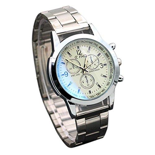 Sonnena Herren Armbanduhren,Business Edelstahl Metallband Analoge Quarz Uhr Herrenuhr Klassik Outdoor Handgelenk Uhr Chronograph (Weiß)