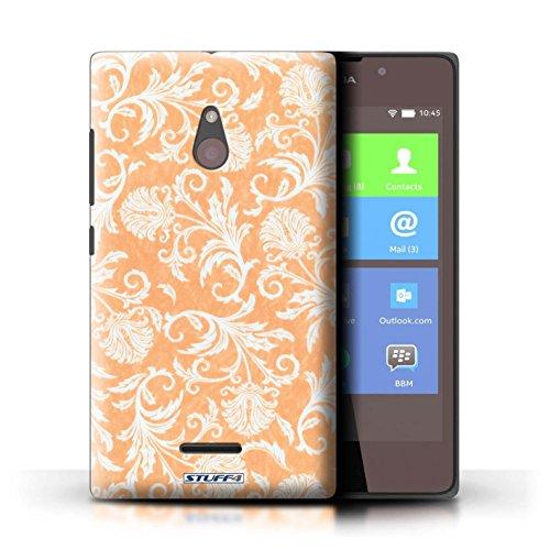 Kobalt® Imprimé Etui / Coque pour Nokia XL / Fleurs Bleues conception / Série Fleurs Fond Orange