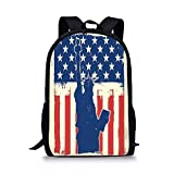 gthytjhv 4th of July Decor,Independence Day Design with Star Button and Sunburst Stripes Artsy Image,Red Blue Boy Girl School Backpack Mens Womens Sports Bag