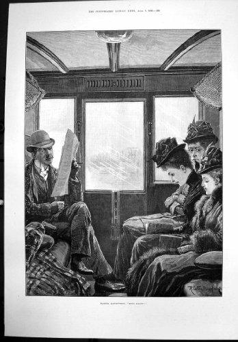 Antiker Druck von Augen berichtigen Mann R Caton Woodville, der 3 Damen-Zug 1890 liest