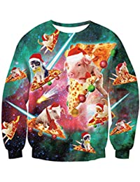 TUONROAD Unisex Ugly Xmas Weihnachten Pullover Novelly Sweatshirt 3D Gedruckt Weihnachtspullover Rundhals Langarmshirt Weihnachtsbaum Winter Loose Jumper Sweatshirt S-XXL