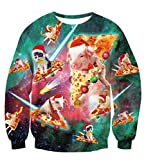 TUONROAD Sweatshirt Damen Hässliche Pizza Katze 3D Druck Weihnachtspullover Herren Komfortabel Ugly Christmas Sweater Langarmshirt Rundhals Xmas Sweatshirt Pullover Jumper - XXL