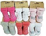 SOCKS Chaussettes bébé naissance pieds formés en coton (6/12 mois, Pack de 6 modèle fille)