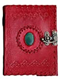 Stunning 5 * 7 Leather Diary Journal Notepad Writing Book with Lock & Stone Handmade Papers Designed for Home & Office in Red Color