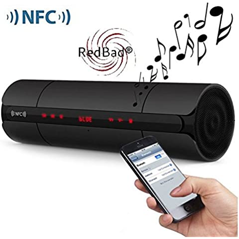 RedBad® Dragon Ultimate 3D Stereo-Sound Lautsprecher NFC Bluetooth Tragbare Wireless Stereo Lautsprecher mit Touchscreen LED Display austauschbarem Lithium-Polymer-Akku, Unterstützt Micro-SD-Karten, integriertes FM-Radio und AUX Line-in-Anschluss für Laptops, Smart Phones, Tablets PC und viele mehr (Schwarz