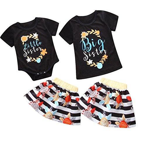 Große Schwester kleine Schwester passende Kleidung Set Sommer Baby Mädchen kleine Schwester Spielanzug Rock Set große Schwester Shirt Rock Set Outfit - Kleine Schwester Große Passende Schwester