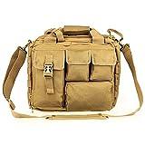 Bolsa bandolera de hombro de nailon de táctica militar de E-Bestar para hombre, bolsa de ordenador portátil de 35,5cm, maletín, bolsa MOLLE para deportes al aire libre, marrón