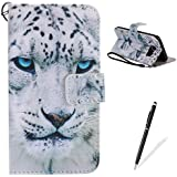 Samsung Galaxy S7 Edge Coque [Gratuit Stylet] Book Fonction support Style Clip Portable de Protection Folio Couverture TPU Silicone Souple Fonction Anti-poussière Stand Magnétique Porte Fentes Pour Cartes Portefeuille PU Cuir Avec stand Function Support Flip Cover Phone Case Pour for Samsung Galaxy S7 Edge - White Tiger