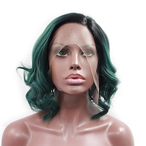 SHKY grün kurze Welle synthetischen Lace Front Perücke grün ombre Haare Hitze resistente Faser Haare schwarz weiblich , 14-Zoll- (Weibliche 70er Jahre Kostüme)