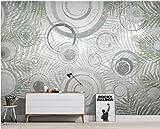 BHXINGMU Mural Plantas Vintage Y Patrones Geométricos Gran Decoración De Hotel Material De Seda. 270Cm(H)×370Cm(W)