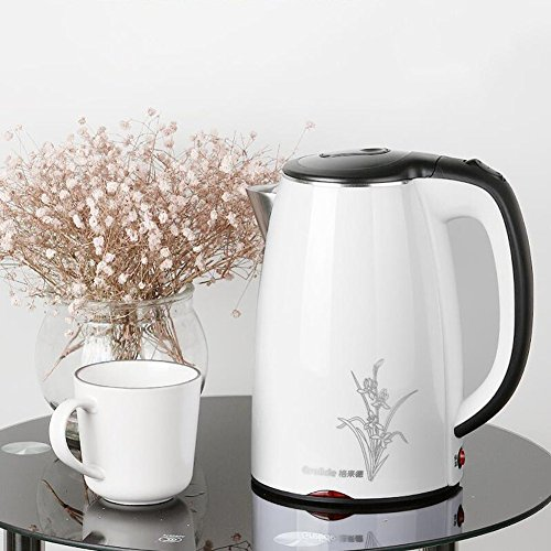 BCQ Electric Kettle Stainless Steel Spring Cover 1.7L 1850W White + Black 20*25Cm Electric Kettles