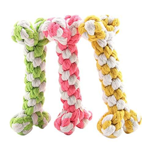 LSTC Haustier Seil Spielzeug Hund Welpe Baumwolle Seil gewebt Spielzeug Knochen geformt kauen Spielzeug Zahnreinigung Spielzeug zufällige Farbe 13cm -