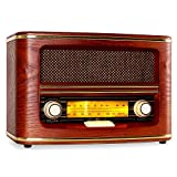 auna Belle Epoque 1905 Radio Retroradio Nostalgieradio (UKW/MW-Empfang, beleuchtete Frequenzbandskala, Wurfantenne, Holzgehäuse, Textilstoff-Lautsprecherabdeckung) braun
