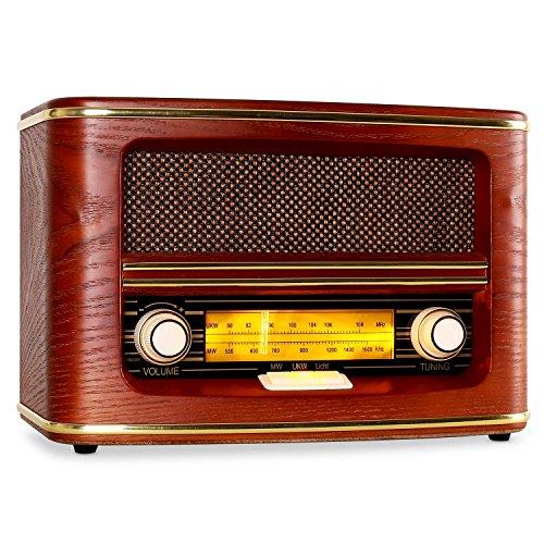 auna Belle Epoque 1905 • Nostalgie Radio • UKW Empfänger • beleuchtete Frequenzband-Skala • Licht-Schalter • Lautstärke- / Frequenzregler • Wurfantenne • abgerundetes Holzgehäuse • Textilstoff-Lautsprecherabdeckung • goldene Dekorleisten • rot (Alte Radios)