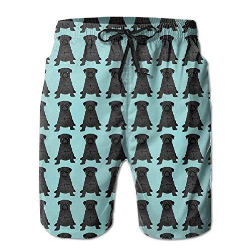Mens Black Pug Mint Green 3D Swim Trunks Quick Dry Summer Underwear Surf Beach Shorts Elastic Waist with Pocket Drawstring(M)
