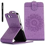 Sony Xperia Z3 Compact Hülle Violett,Slynmax Mandala Flip Schutzhülle für Sony Xperia Z3 Compact Tasche Wallet Leder Klapphülle Brieftasche Lederhülle Handyhülle Ständer Kartenfächer Magnetverschluss