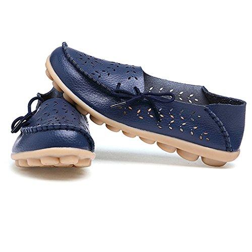 Oriskey Damen Mokassin Bootsschuhe Leder Loafers Schuhe Flache Fahren Halbschuhe Sandalen Dunkelblau