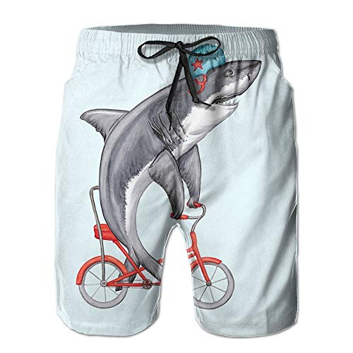 Pillow Hat Mens Surf Beach Shorts Swim-Trunks Quick Dry Funny Shark On Bike Board Shorts with Pocket SizeNme Medium