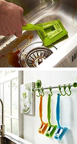Igemy évier de cuisine Brosse de nettoyage Pot à laver Outil Poignée de brosse éponge Cleaner Green