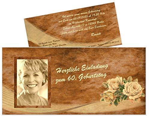 Unser-Festtag Vintage 3 Rosen mit Foto zum Geburtstag Erwachsene, Mann Frau - für jedes Alter, mit Foto - 20 Karten