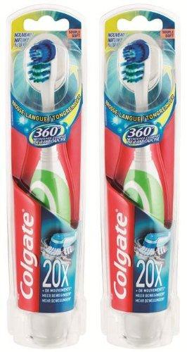 Colgate 276009 Zahnbürste 360°, batteriebetrieben, weich, 2Stück