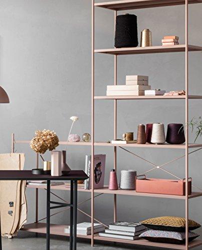 Ferm Living - Vase Hexagon Rosa - pulverbeschichtetes Metall Ø 6,5 Höhe 18 cm