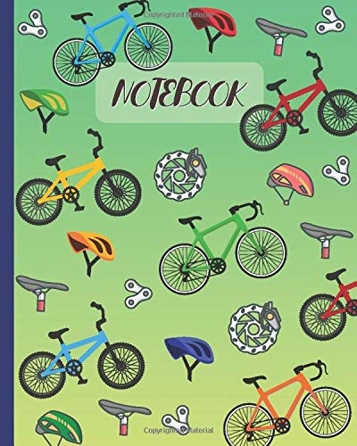 Notebook: Bicycles Cartoon Cover - Lined Notebook, Diary, Track, Log & Journal - Cute Gift for Cyclists, Mountain Bikers, Bicycles Fans & Off-Road Cycling Lover (8