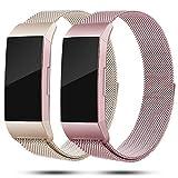 Onedream Kompatibel für Fitbit Charge3 Charge 3 Armband Damen Metall Edelstahl Rosegold Champagner