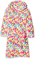 Playshoes Girl's Fleece Bathrobe Allover Flowers Dressing Gown, Multicoloured (Pink), 6-12 Months (Manufacturer Size:74/80)