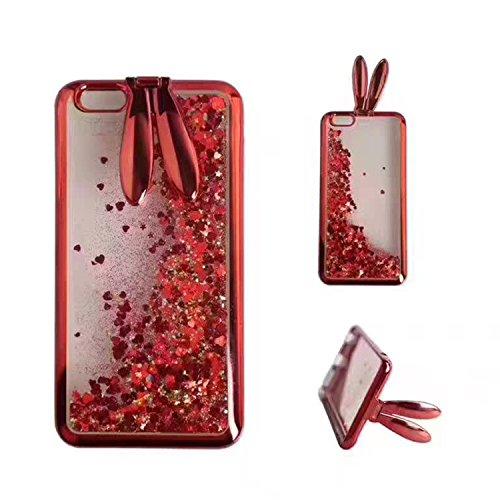Etui pour iPhone 6 6s Transparente Housse,Vandot TPU Coque iPhone 6 6S Fashion Diamant Design Case Gel Silicone Souple Couverture iPhone 6 6S 4.7 Pouces Légère Slim Flexible Coque Protecteur Fonction  Oreilles de Lapin-Rouge